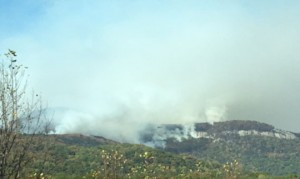 Figure 3: Forest fire burns on Pinnacle Mountain.