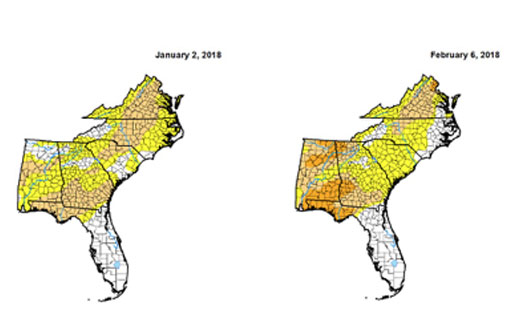 Figure 2: Drought conditions have improved according to the drought monitor.